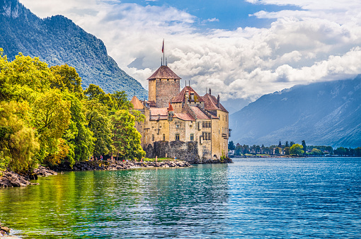 Chateau de Chillon at Lake Geneva, Canton of Vaud, Switzerland