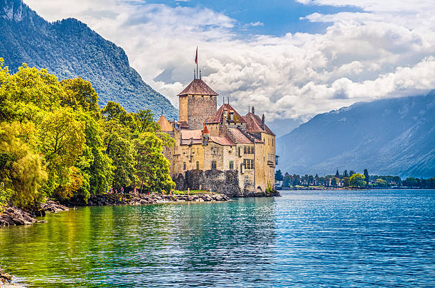 chateau de chillon at lake geneva, canton of vaud, switzerland - lake geneva stock photos and pictures
