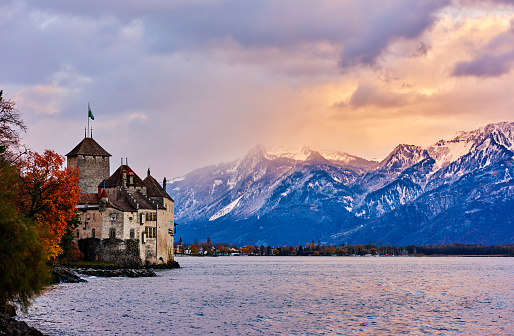 Chateau De Chillon, Geneva Lake, Montreux, Switzerland