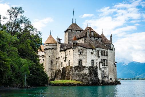 Chateau de Chillon on the shore of Lake Geneva,Switzerland