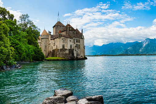 Chateau de Chillon on the shore of Lake Geneva,Switzerland