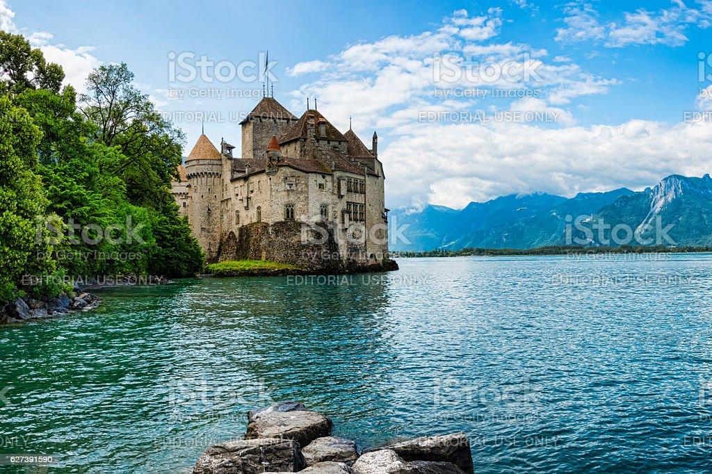 Chateau de Chillon on the shore of Lake Geneva,Switzerland stock photo