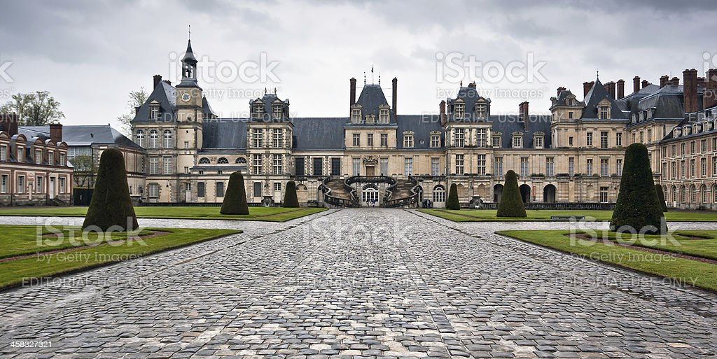 Chateau de Fontainebleau on a rainy day stock photo
