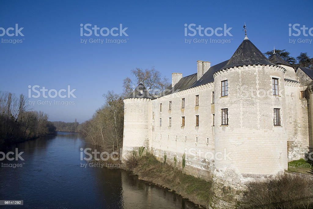 Chateau de la Guerche, France; Cruese river and French countryside royalty-free stock photo
