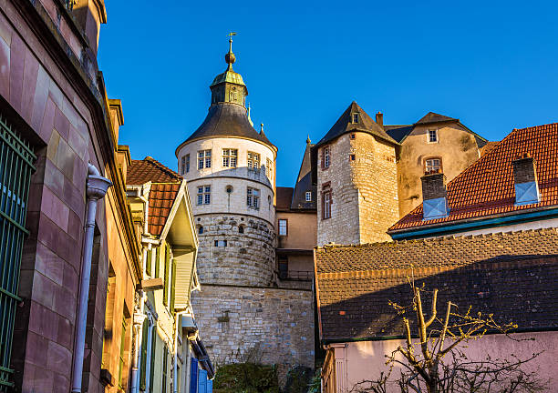 Chateau de Montbeliard as seen from a street - France stock photo