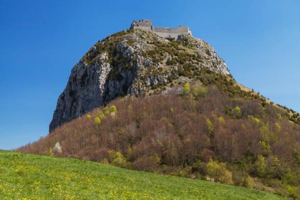 Chateau de Montsegur stock photo