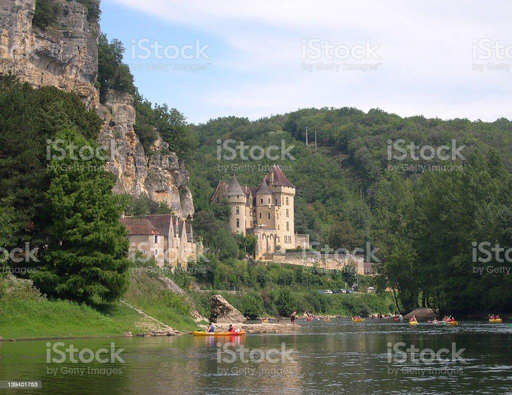 Chateau, Dordogne River,France stock photo