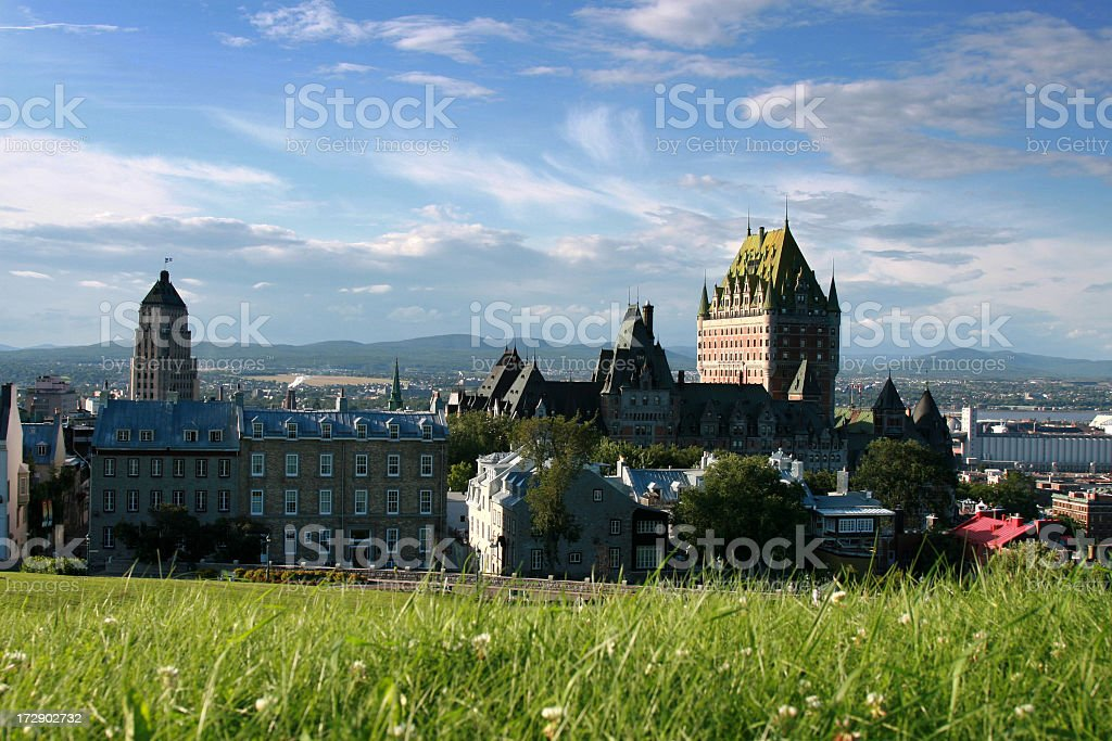 Chateau Frontenac at sunset, Quebec city, Canada royalty-free stock photo