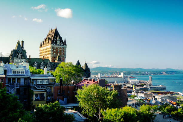 Chateau Frontenac Hotel in Quebec City, Province of Quebec, Canada stock photo