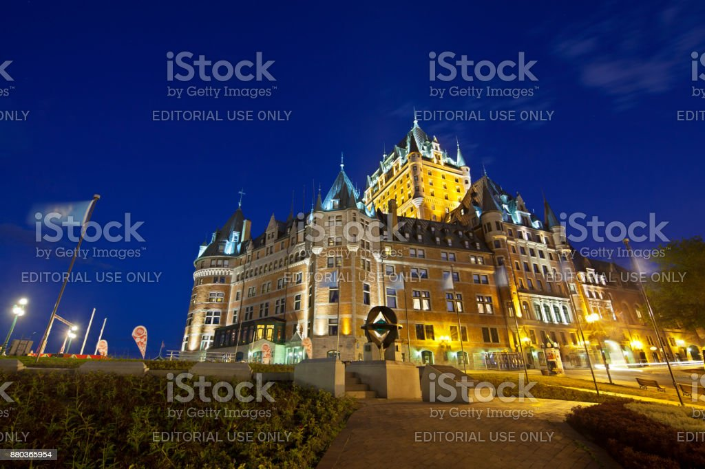 Chateau Frontenac in Quebec City At Night, Canada, editorial stock photo