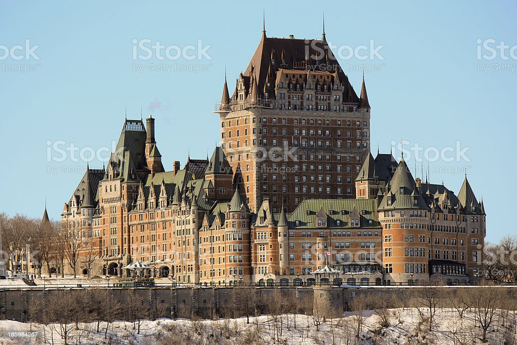 Chateau Frontenac in Quebec City, Canada The luxurious Chateau Frontenac hotel in Quebec City, Canada during winter. Architecture Stock Photo