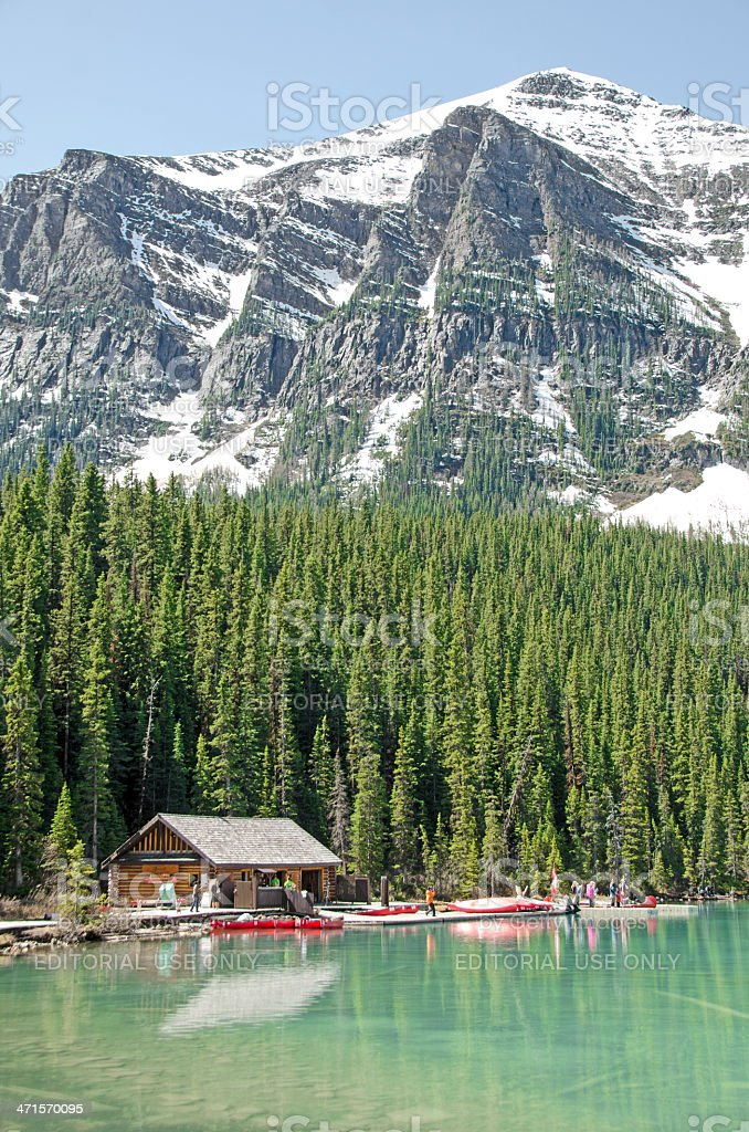 Chateau Lake Louise Boathouse stock photo