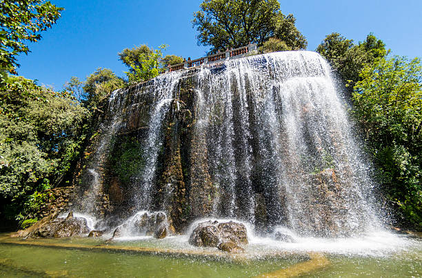 Chateau Waterfall in Nice, France stock photo