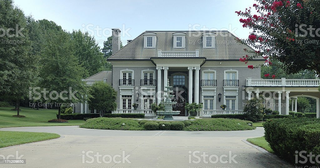 Chateau-style Home in the Suburbs stock photo