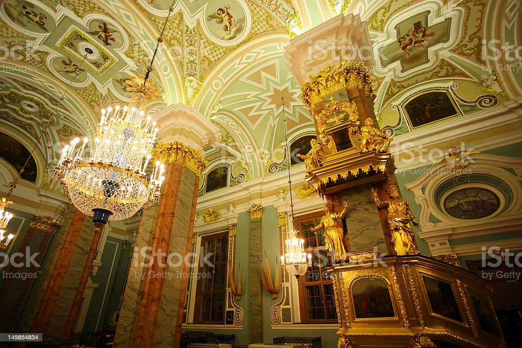 Chatedral in Peter and Paul fortress stock photo