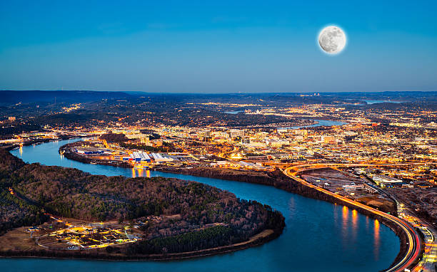 Chattanooga downtown at night Chattanooga downtown at night as seen from Lookout Mountain chattanooga stock pictures, royalty-free photos & images
