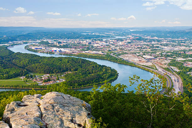 """Chattanooga """"View of Chattanooga, Tennessee from Lookout Mountain"""" chattanooga stock pictures, royalty-free photos & images"""