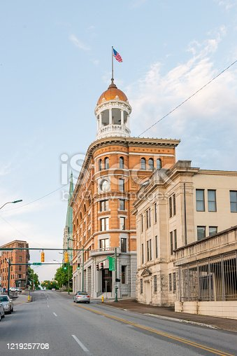 In Chattanooga, Tennessee the historic Dome Building stands above the neighboring properties along the quiet city street.