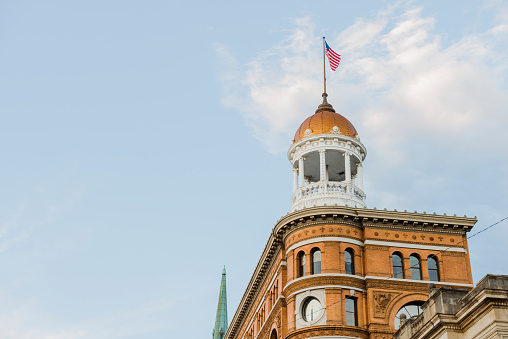 This is a horizontal, color photograph of historic Dome Building built in the late 1800s in downtown Chattanooga, Tennessee. Photographed with a Nikon D800 DSLR camera.