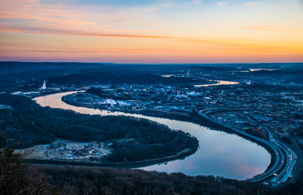 Chattanooga Tennessee Skyline and Tennessee River Downtown Chattanooga, Tennessee TN Skyline and Tennessee River from Point Park and Lookout Mountain. tennessee river stock pictures, royalty-free photos & images