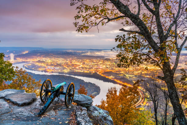 Chattanooga, Tennessee, USA view from Lookout Mountain stock photo