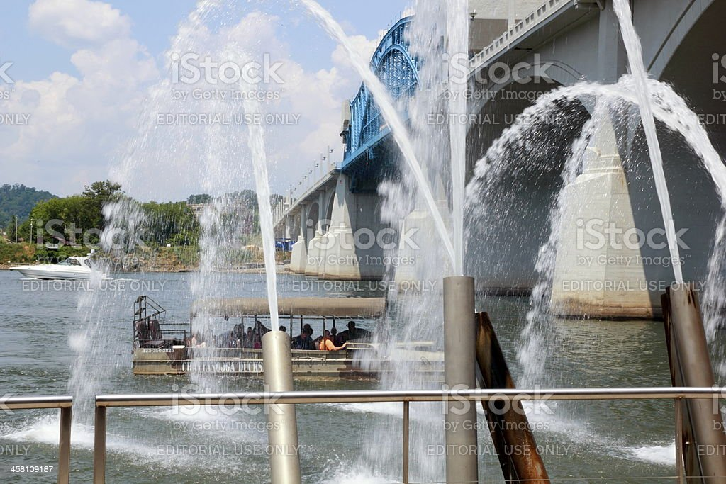 Chattanooga Tour Boat Playing in Fountain Spray stock photo