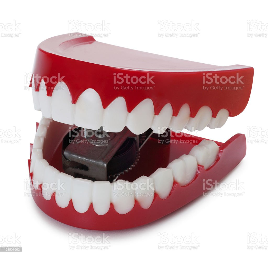 Chattering Teeth Isolated on White royalty-free stock photo
