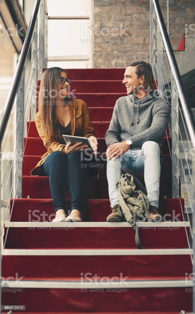Chatting on campus royalty-free stock photo