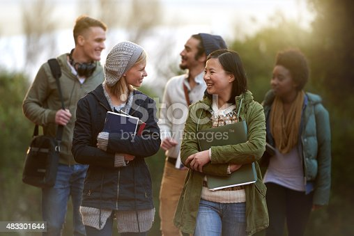Chatting On The Way To Class Stock Photo & More Pictures of 2015