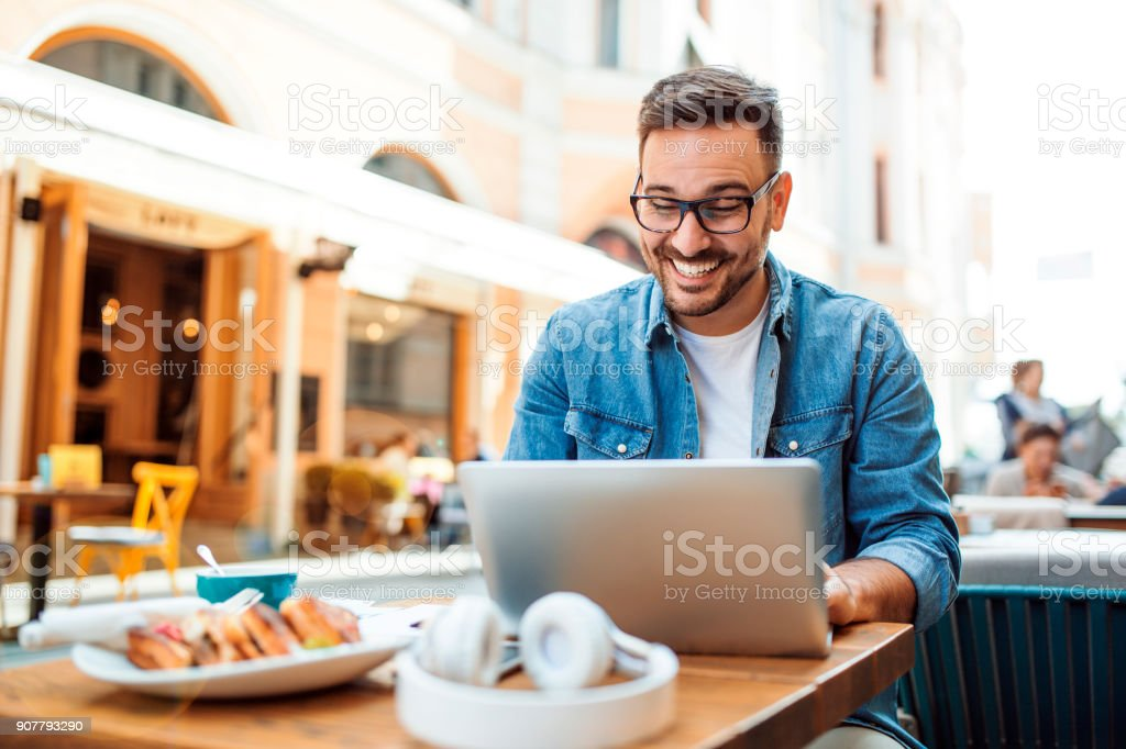 Chatting online stock photo