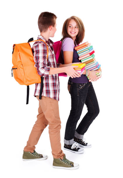 Chatting Students Back to School stock photo