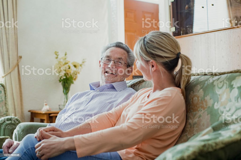 Chatting with his Carer stock photo