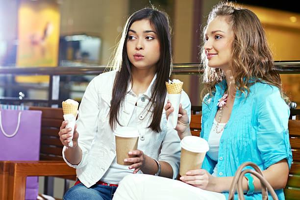 Chatting women stock photo