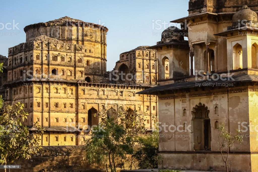 Chaturbhuj temple in warm evening light, Orchha stock photo