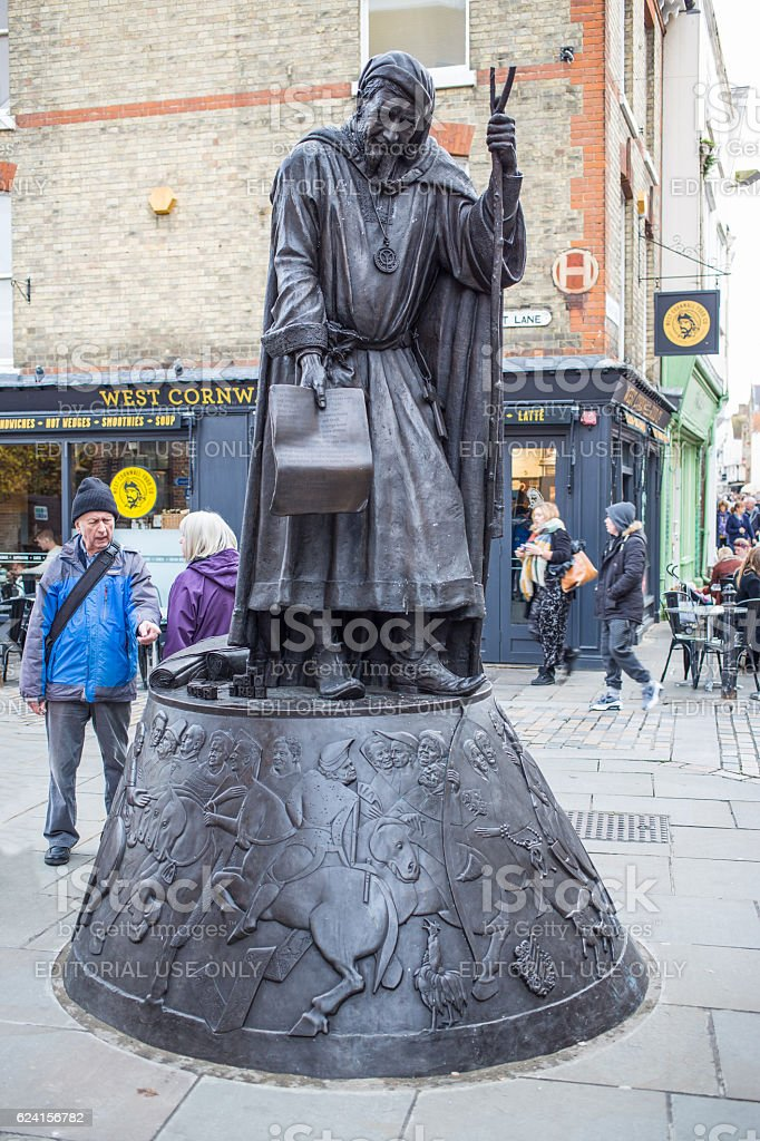 Chaucer Statue in Canterbury stock photo