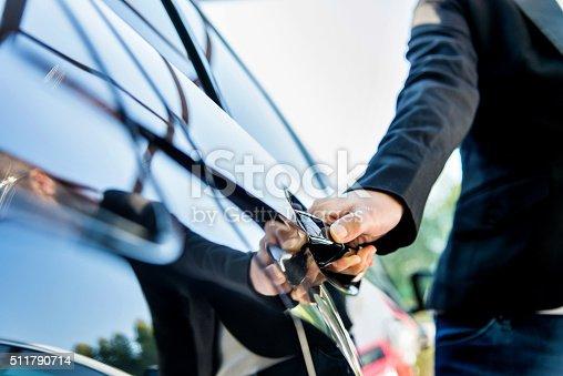 istock Chauffeur open car door 511790714