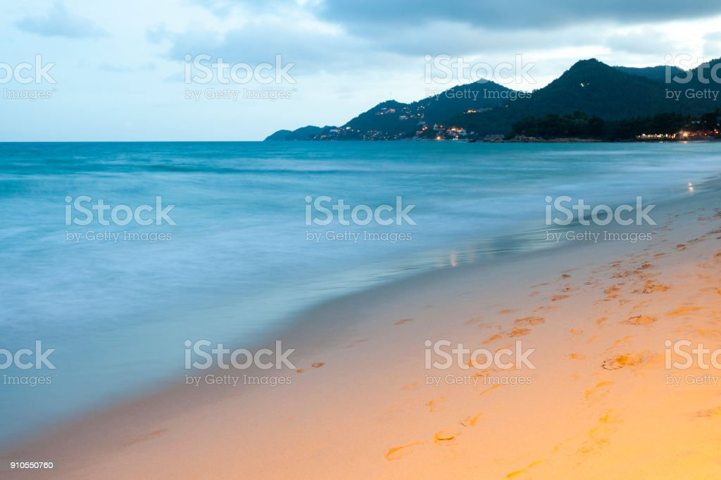 Chaweng Beach at dusk, Koh Samui, Thailand stock photo