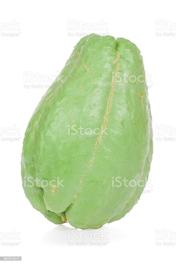 Chayote isolated on white background stock photo
