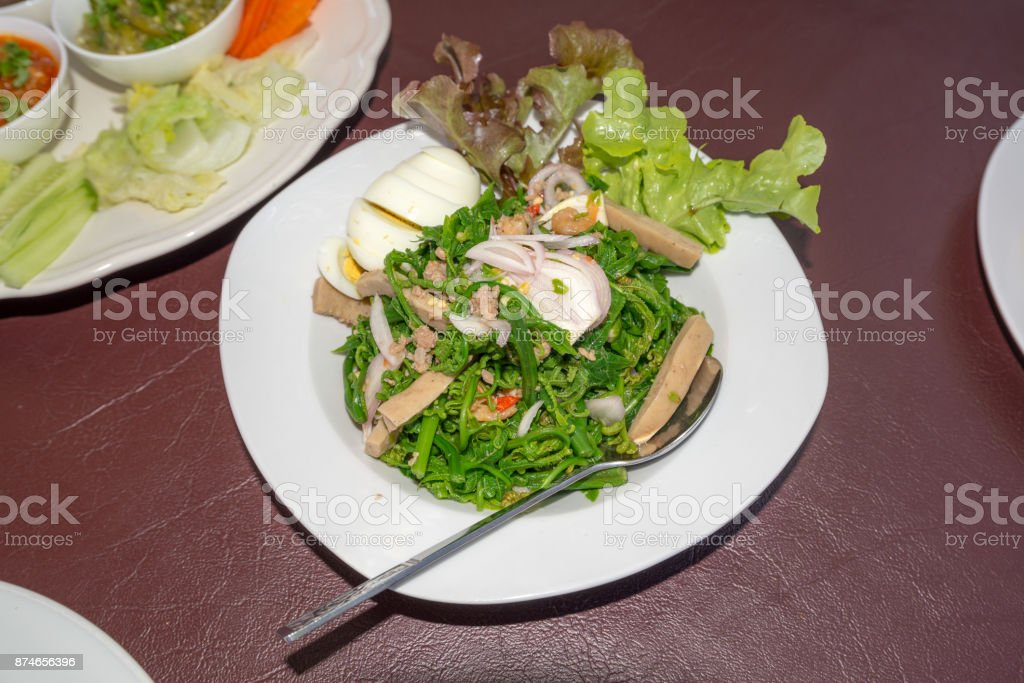 Chayote Northern of Thailand Salad with egg stock photo