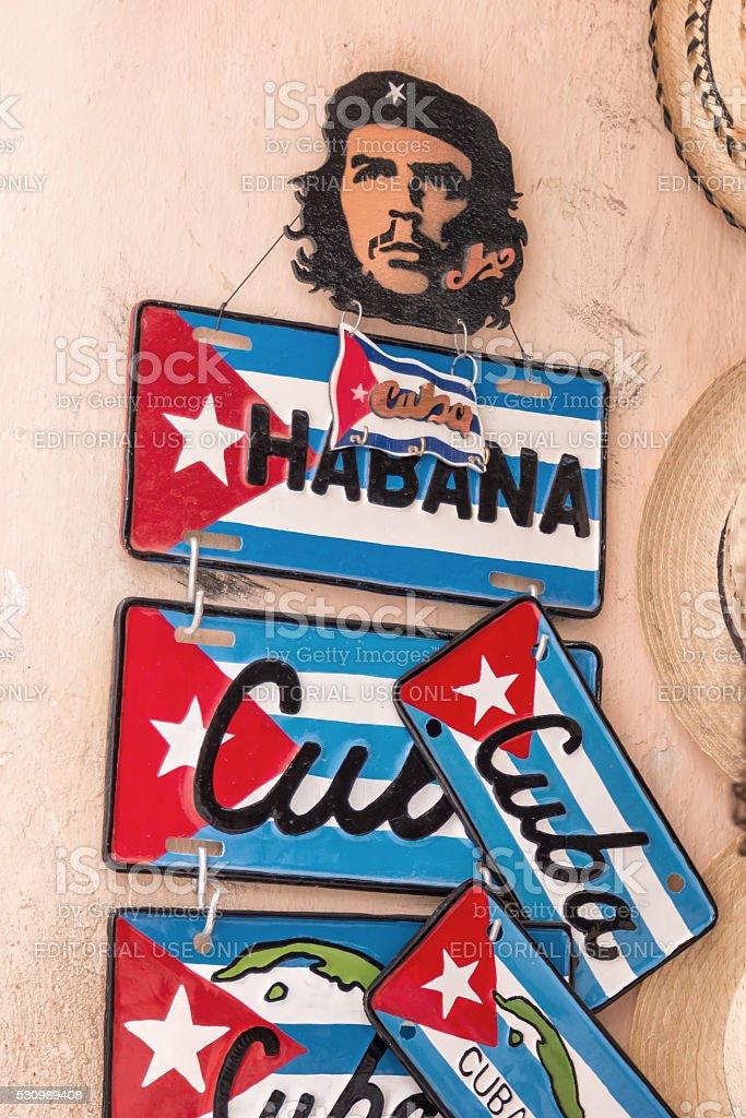 Che Guevara and souvenir license plates in old Havana, Cuba stock photo