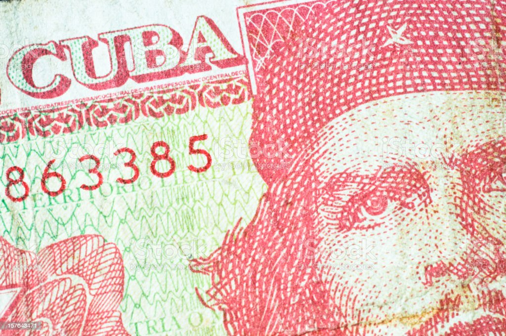 Che Guevara on a Cuban banknote stock photo
