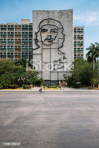 Havana, Cuba - April 27, 2019: Ministry of the Interior building, featuring iron mural of Che Guevara's face with the message