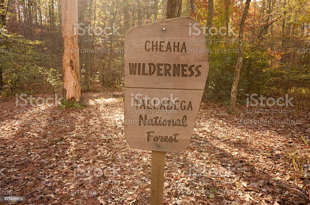 Cheaha Wilderness Talladega National Forest sign stock photo