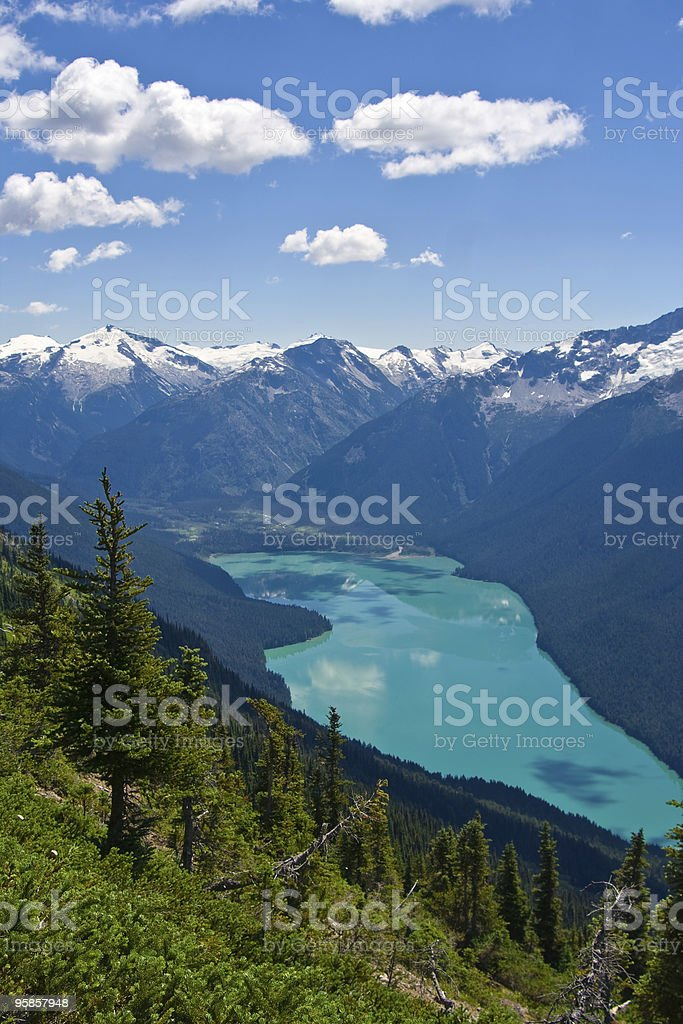 Cheakamus Lake with a cloudy blue sky stock photo
