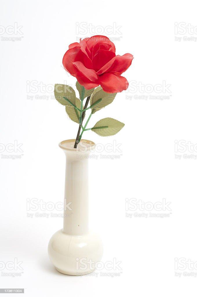 Cheap Fake Rose In Plastic Vase Poor Mans Valentine Stock Photo