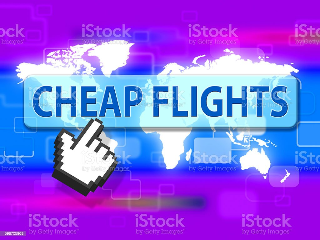 Cheap Flights Indicates Fly Airplane And Aircraft stock photo