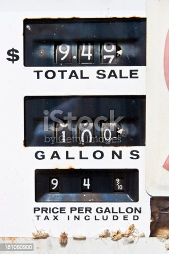 Old gas pump face registering 94¢ a gallon. Horizontal