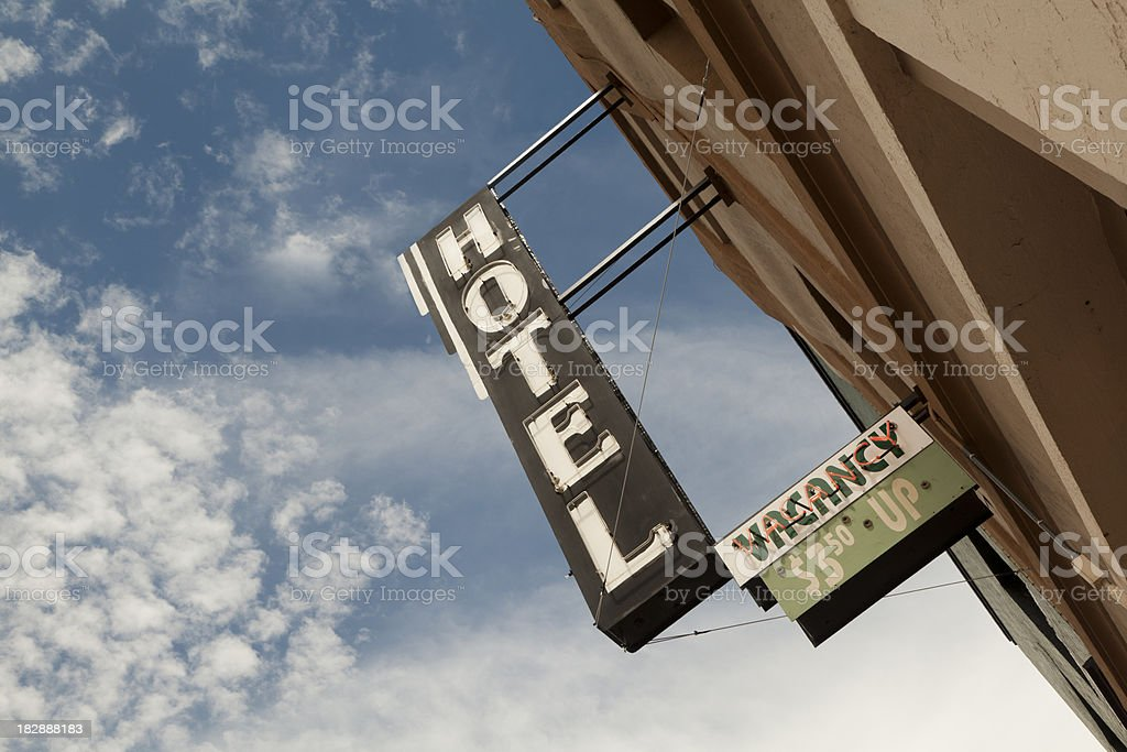 Cheap Hotel Sign With Vacancy, Route 66 stock photo