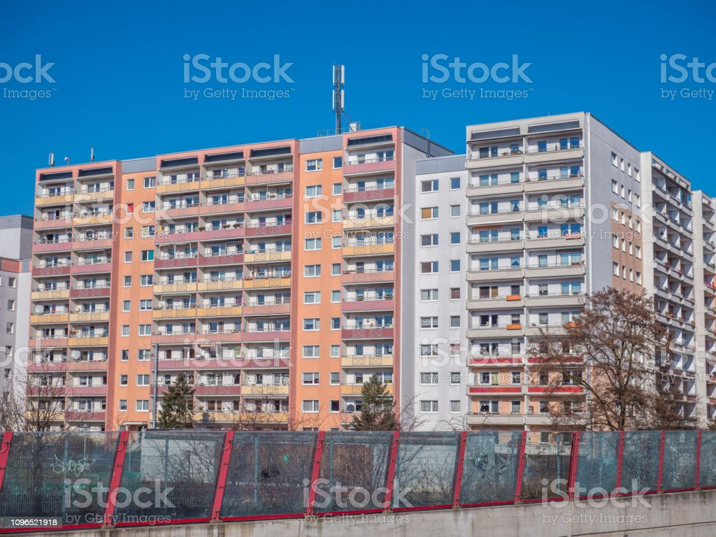 cheap living in prefabricated housing stock photo