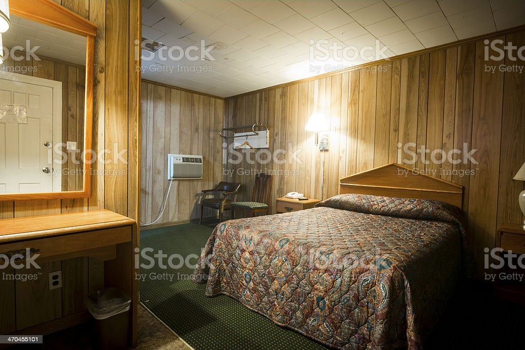 Cheap motel room stock photo